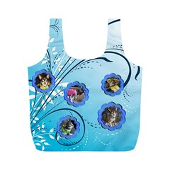 Blue Swirl Recycle Bag (m) Two Sides By Kim Blair   Full Print Recycle Bag (m)   6m7g39kcptjm   Www Artscow Com Front