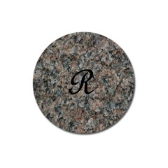 Pink And Black Mica Letter R Magnet 3  (round)
