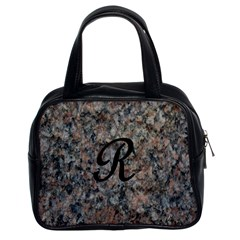 Pink And Black Mica Letter R Classic Handbag (Two Sides) by Khoncepts