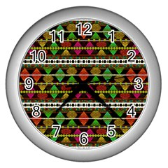 Aztec Style Pattern Wall Clock (silver) by dflcprints