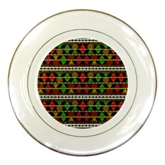 Aztec Style Pattern Porcelain Display Plate by dflcprints