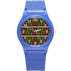 Aztec Style Pattern Plastic Sport Watch (small) by dflcprints
