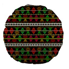 Aztec Style Pattern 18  Premium Round Cushion  by dflcprints