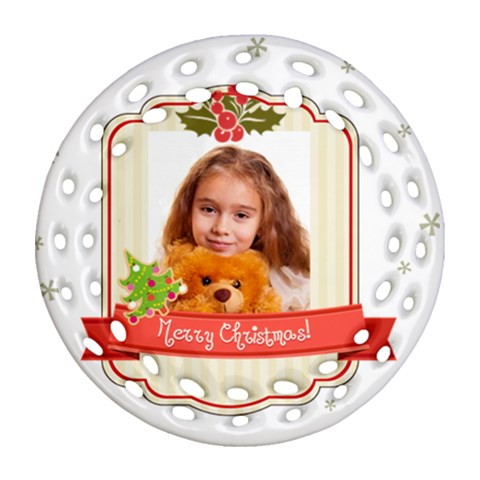 Merry Christmas By Joely   Ornament (round Filigree)   8rdp7nz1ucfq   Www Artscow Com Front