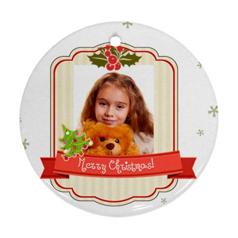 Merry Christmas By Joely   Ornament (round)   Fkzbaok97lr0   Www Artscow Com Front
