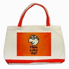 Have A Nice Day Happy Character Classic Tote Bag (red) by CreaturesStore