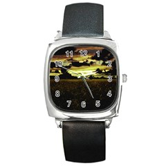 Dark Meadow Landscape  Square Leather Watch by dflcprints