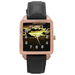 Dark Meadow Landscape  Rose Gold Leather Watch