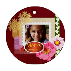 Merry Christmas By Joely   Round Ornament (two Sides)   Sl6sni1gakld   Www Artscow Com Front