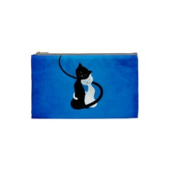 Blue White And Black Cats In Love Cosmetic Bag (Small) by CreaturesStore