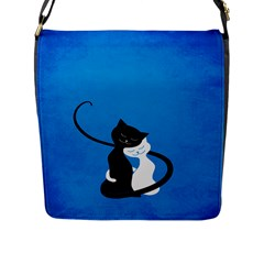 Blue White And Black Cats In Love Flap Closure Messenger Bag (large) by CreaturesStore