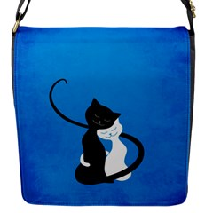 Blue White And Black Cats In Love Flap Closure Messenger Bag (small) by CreaturesStore