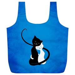 Blue White And Black Cats In Love Reusable Bag (xl) by CreaturesStore