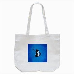 Blue White And Black Cats In Love Tote Bag (white) by CreaturesStore