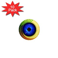 Eerie Psychedelic Eye 1  Mini Button Magnet (10 Pack) by StuffOrSomething