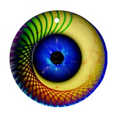 Eerie Psychedelic Eye Round Ornament (Two Sides) by StuffOrSomething