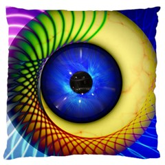 Eerie Psychedelic Eye Large Cushion Case (single Sided)  by StuffOrSomething