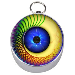 Eerie Psychedelic Eye Silver Compass by StuffOrSomething