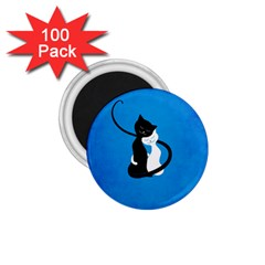 Blue White And Black Cats In Love 1 75  Button Magnet (100 Pack) by CreaturesStore
