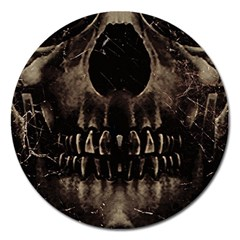 Skull Poster Background Magnet 5  (Round) by dflcprints