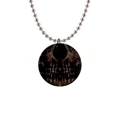Skull Poster Background Button Necklace by dflcprints