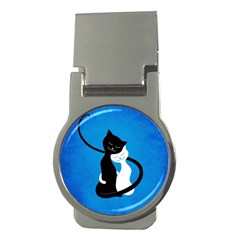 Blue White And Black Cats In Love Money Clip (Round) by CreaturesStore