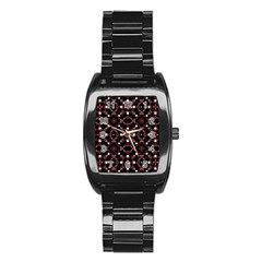 Futuristic Dark Pattern Stainless Steel Barrel Watch by dflcprints