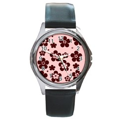 Pink With Brown Flowers Round Leather Watch (silver Rim) by Khoncepts