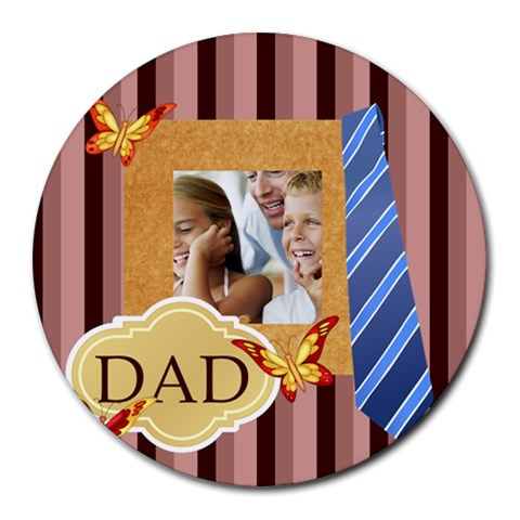 Fathers Day By Dad   Collage Round Mousepad   Qkyko85d3h0q   Www Artscow Com 8 x8 Round Mousepad - 1