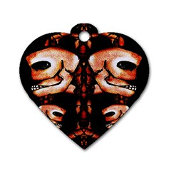 Skull Motif Ornament Dog Tag Heart (two Sided) by dflcprints