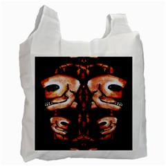 Skull Motif Ornament White Reusable Bag (one Side) by dflcprints