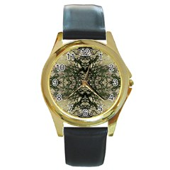Winter Colors Collage Round Leather Watch (gold Rim)  by dflcprints