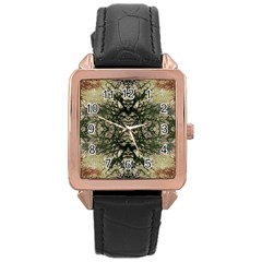 Winter Colors Collage Rose Gold Leather Watch