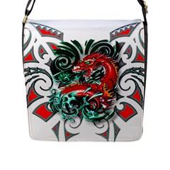 Tribal Dragon Flap Closure Messenger Bag (Large) by TheWowFactor