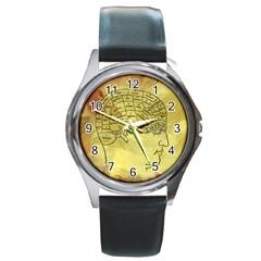 Brain Map Round Leather Watch (silver Rim)