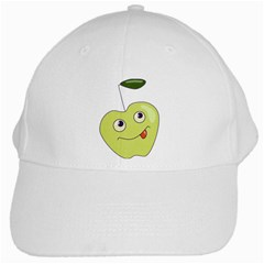 Cute Green Cartoon Apple White Baseball Cap by CreaturesStore