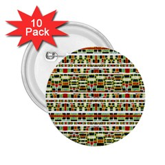 Aztec Grunge Pattern 2 25  Button (10 Pack) by dflcprints