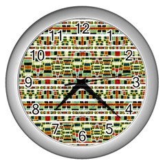 Aztec Grunge Pattern Wall Clock (silver) by dflcprints
