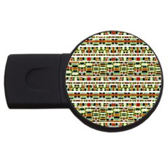 Aztec Grunge Pattern 2gb Usb Flash Drive (round) by dflcprints