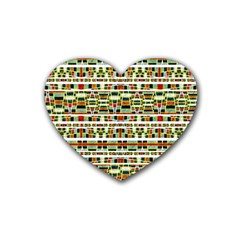 Aztec Grunge Pattern Drink Coasters (heart) by dflcprints
