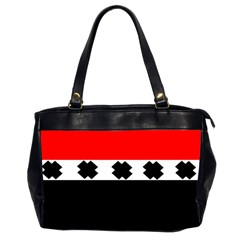 Red, White And Black With X s Design By Celeste Khoncepts Oversize Office Handbag (two Sides) by Khoncepts