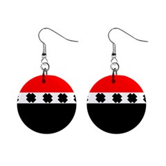 Red, White And Black With X s Design By Celeste Khoncepts Mini Button Earrings by Khoncepts