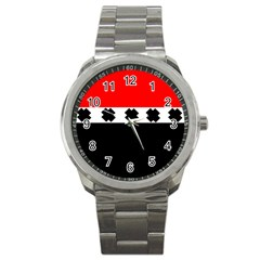 Red, White And Black With X s Design By Celeste Khoncepts Sport Metal Watch by Khoncepts