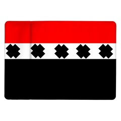 Red, White And Black With X s Electronic Accessories Samsung Galaxy Tab 10 1  P7500 Flip Case by Khoncepts
