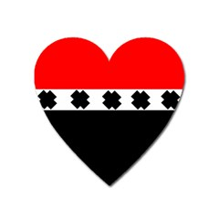 Red, White And Black With X s Design By Celeste Khoncepts Magnet (heart) by Khoncepts