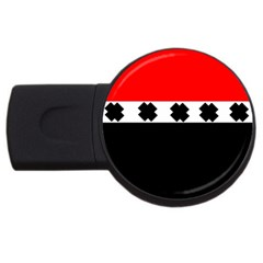 Red, White And Black With X s Design By Celeste Khoncepts 4gb Usb Flash Drive (round) by Khoncepts