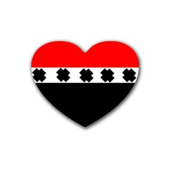 Red, White And Black With X s Design By Celeste Khoncepts Drink Coasters 4 Pack (heart)  by Khoncepts