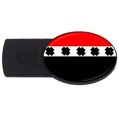 Red, White And Black With X s Design By Celeste Khoncepts 2gb Usb Flash Drive (oval) by Khoncepts