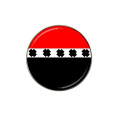 Red, White And Black With X s Design By Celeste Khoncepts Golf Ball Marker (for Hat Clip) by Khoncepts
