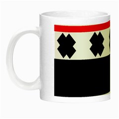 Red, White And Black With X s Design By Celeste Khoncepts Glow In The Dark Mug by Khoncepts